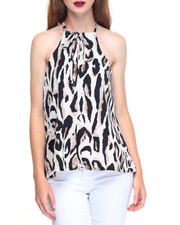Fashion Lab - Leopard Print Trapeze Crepe Top