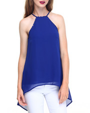 Fashion Lab - Nail Head Trim Tail Hem Split Back Top