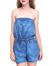 Women - Strapless Smocked Waist Denim Romper