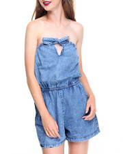 Women - Marble Wash Tie Front Pocketed Denim Romper