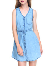 Women - V-neck Drawstring Waist Denim Shirt Dress