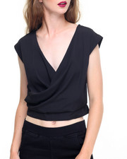 Fashion Lab - Crepe Slit Back Cropped Top