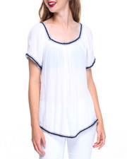 Fashion Lab - Embroidered Trim Gauze Peasant Top