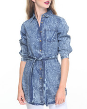 Fashion Lab - Acid Wash Button Down Belted Denim Tunic