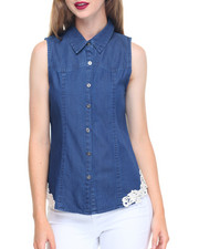 Fashion Lab - Marble Wash Crochet Trim Denim Shirt