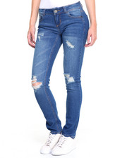 Women - Rips & Tears Sandblasted Cuffable Skinny Jean