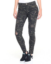 Pants - Zip Trim Destructed Camo Skinny Jean