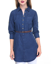 Fashion Lab - Roll Sleeve Cotton Denim Belted Tunic