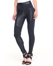 Basic Essentials - Sheik Vegan Leather Panels Legging