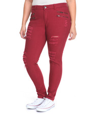 Pants - Rips Zip Trim Skinny Twill Pant (Plus)