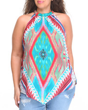 Fashion Lab - Medallion Placement Print Trapeze Top (Plus)