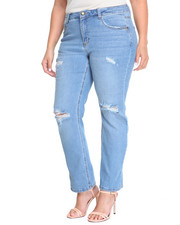 Jeans - Rips & Tears Sandblasted Cuffable Skinny Jean (Plus)
