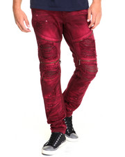 Jeans & Pants - Faux Leather Backed Biker Denim Jeans