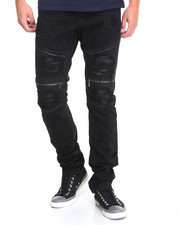 Basic Essentials - Faux Leather Backed Biker Denim Jeans