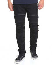 Jeans & Pants - Zipper - Trim Moto Rip - And - Repair Slub Twill Pants