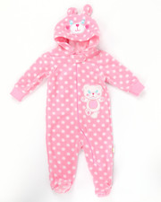 Infant & Newborn - BEAR HUGS MICRO POLAR HOODED COVERALLS (NEWBORN)