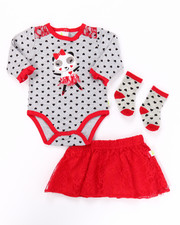 Infant & Newborn - 3 PC PANDA LACE SKIRT SET (NEWBORN)