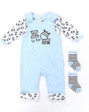 Infant & Newborn - 3 PC DIAMOND QUILT OVERALL SET (NEWBORN)