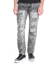 Basic Essentials - Acid Washed Distressed Denim Jeans