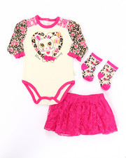 Girls - 3 PC BUNNY LACE SKIRT SET (NEWBORN)