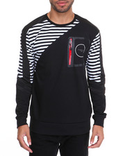 Men - Striped Tech Pocket Crewneck