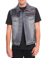 Men - Springfield Embroidered Denim Vest