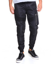 Men - M A 1 - Style Rouched Moto Nylon Joggers