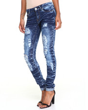 Women - Rips Courture Acid Wash Stretch Skinny Jean