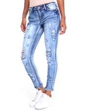Women - Destructed Roll Cuff Stretch Skinny Jean
