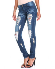 Women - Destructed Sandblasted Roll-Cuff Skinny Jean