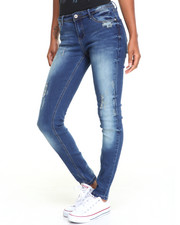 Women - Sandblasted Torn Stretch Skinny Jean