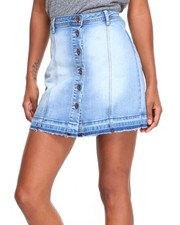 Fashion Lab - Button Closure Denim Skater Skirt
