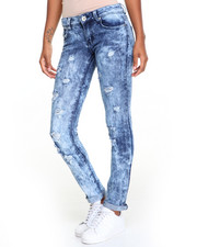 Women - Marble Wash Crystal Effect Skinny Jean