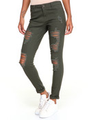 Destructed Smocked Stretch Twill Jogger