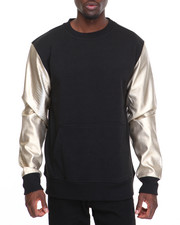 Sweatshirts & Sweaters - Bleecker & Mercer Faux Leather - Sleeve Crewneck Sweatshirt