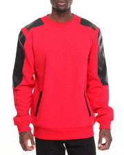 Sweatshirts & Sweaters - CREWNECK SWEATSHIRT W/ FAUX LEATHER SLEEVES/DETAIL