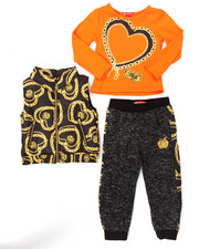 Girls - 3 PC PUFFER VEST & JOGGERS SET (2T-4T)
