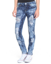 Women - Sandblasted Destructed Roll Cuff Skinny Jean