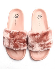Sandals - SMOOTH FAUX FUR SLIDES