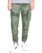 M A 1 - Style Rouched Moto Nylon Joggers