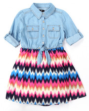 Dresses - CHAMBRAY DRESS W/ PRINTED SKIRT (7-16)