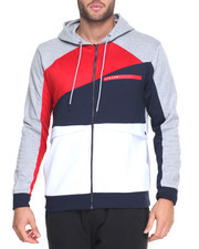 Hoodies - Color Block Pocket Zip - Up Hoodie