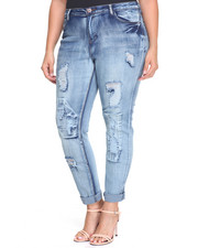 Plus Size - Rips & Repairs Roll Cuff Skinny Jean