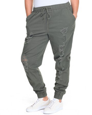 Plus Size - Destructed Stretch Twill Jogger (Plus)