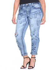 Jeans - Destructed Roll Cuff Stretch Skinny Jean (Plus)