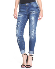 Women - Lighting Volt Patches Destructed Roll Cuff Skinny Jean