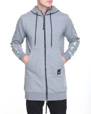 Hoodies - Long Sleeve Elongated 2way Zipper Hoodie