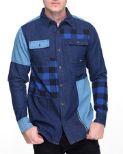 Men - Denim Patchwork Button Down
