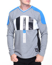 Men - Colorblock V-Neck Pullover w Quilted Shoulder Detail