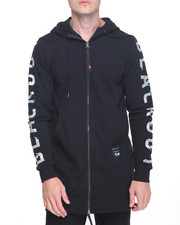 Men - Long Sleeve Elongated 2way Zipper Hoodie